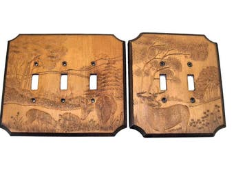 WHITETAIL DEER Light Switchplate Covers Embossed Maple Wood by JMCo Hunting Log Cabin 1983