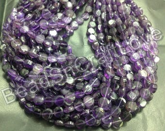 Amethyst shaded coin shape faceted beads, 6/7 mm 42 pieces