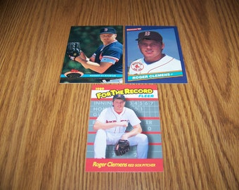 3 Roger Clemens (Boston Red Sox) cards
