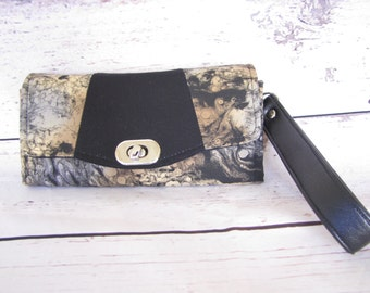 Black and Tan Wallet with wristlet strap