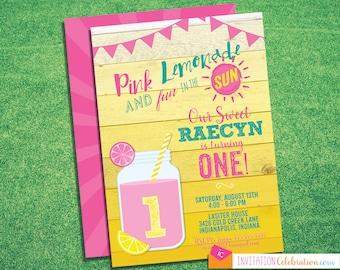 Pink Lemonade First Birthday Invitation - Yellow - Teal - Turquoise - Girl - Choose Digital or Printed w/Envelopes