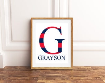 Boy monogram, custom name art, boys bedroom decor, boys room wall art, name art,  gift for boy, stripes, childrens room art, playroom decor