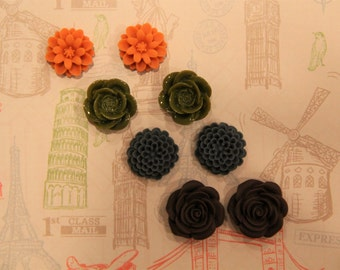 Resin Flower Set of 4: Orange, Dark Green, Gray-Blue, and Dark Brown Stud Earrings!