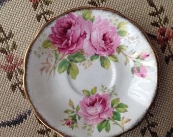 American Beauty Royal Albert saucer, fine English bone China