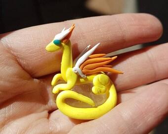 Yellow Miniature Dragon and Clear Quartz