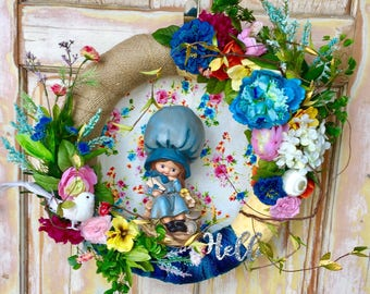 SALE  Summer wreath; wreath featuring vintage figurine; Spectacular flower wreath; Burlap wreath