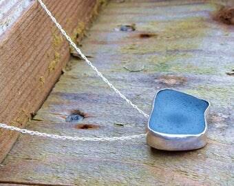 Natural blue sea glass silver pendant, sea glass pendant, blue sea glass necklace, natural necklace, natural jewellery