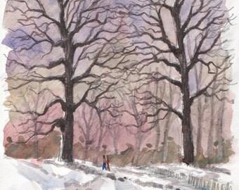 Winter walk original watercolor, home deco, watercolor painting, winter watercolor, original wall art, landscape painting, winter deco home