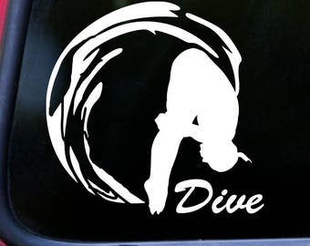 """DIVE Vinyl Decal Sticker 5.5"""" x 5.5"""" Pike Position Diving  *Free Shipping*"""