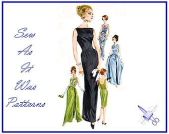 "1960s Butterick 2488 Evening Slim Sheath Fitted Sleeveless Dress Bateau Neckline Overskirt Vintage Sewing Pattern Size 16 Bust 36"" 92cm"
