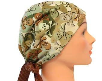 Scrub Hat Surgical Scrub Cap Chemo Vet Nurse Dr Hat European Pixie Camo Skulls Green Brown   2nd Item Ships FREE