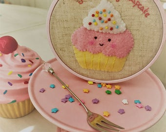 Sweet Pink Cupcake Embroidery Hoop Wall Art, Felt Linen Wall Art, Nursery Art, Home Decor, Birthday Gift, Valentine's Day Gift