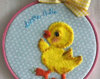 Kitsch Retro Baby Chick Embroidery Hoop Wall Art, Felt Wall Art, Nursery Decor, Home, New Baby Gift