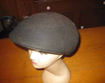 Vtg black London Ascott Wool Driving cap / Golf cap/ Newsboy LG free ship clean vtg