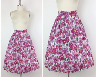 50s Floral Print Skirt / 1950s Cotton Vintage Full Skirt / Large / Size 10 / 31 inch waist