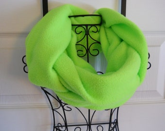 Lime Fleece Infinity Scarf / Seahawk Green Fleece Infinity Scarf / Neck Warmer