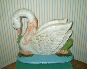 Vintage Cast Iron Swan door stop- white swan doorstop- hand painted shabby chic door stop- country cottage bookend or door stop- swan