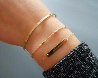 Gold Bracelet Set, Delicate Gold 3 Bracelet Set, Gold Personalized Bar Bracelet, Gold Chain Bracelet, Hammered Gold Bangle  #507