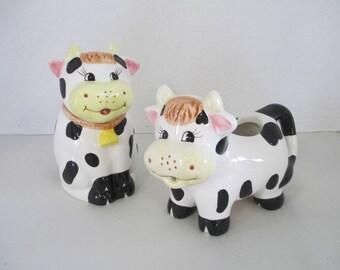 Vintage cow sugar and creamer ceramic pair of cows