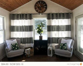 Easter Sale Custom Black and Cream Striped Curtains Stripes