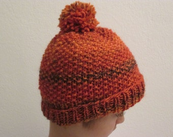 Baby/Toddler Hand Knit Orange Hat. Chunky Hat. Gift Idea. Pom Pon Hat. Gift under 20 USD. Ready to Ship.