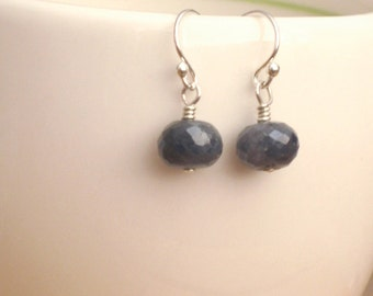 SALE AA Blue Gray Sapphire Earrings - Sapphire Jewelry - Faceted Rondelle Blue Gray Sapphire - September Birthstone