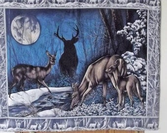 Deer family in the moonlight, buck deer, doe deer, fawn, wall hanging, tapestry, cabin and lodge decor