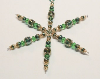 "Handmade Beaded Snowflake Ornament in Green and Gold 5-1/2"", Beaded Decoration"