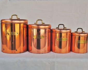 Vintage Ransburg Copper Kitchen Canister Set
