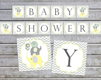 Baby shower banner baby shower decorations baby shower banner elephant baby shower decor (88) instant download