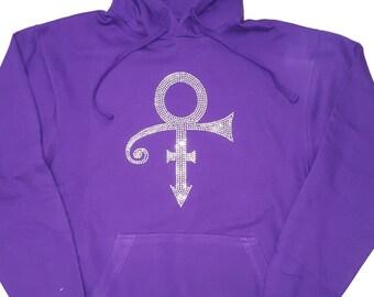 New Rhinestone Prince Symbol Hoodie pullover Purple sweatshirt Free Shipping