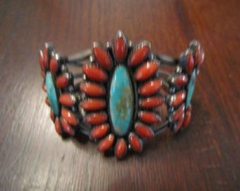 Sterling Bracelet Carico Lake Turquoise and Coral