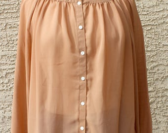 Mamselle by Gale Gould Tan Pleated Secretary Blouse