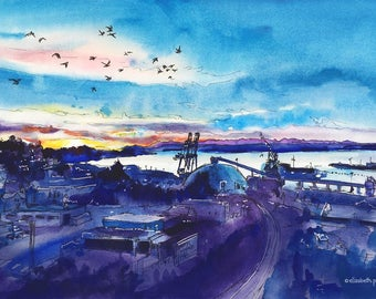 Twilight Over the Port /// Sketchy Everett Series