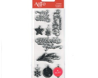 "JOY to the WORLD Pine branch snowflake ornament Mini 3"" x 6"" Clear Stamp Set by Art-C   cc03"