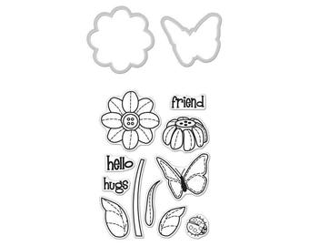 """Hero Arts Stamp & Cut BUTTERFLY and FLOWER clear 3""""x4"""" Stamp with metal Die set - DC147 1.cc02"""