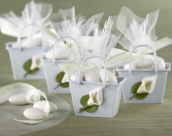 Calla Lily Spring Wedding Flower Favor Metal Mini Boxes Pail Tins - Pkg 12