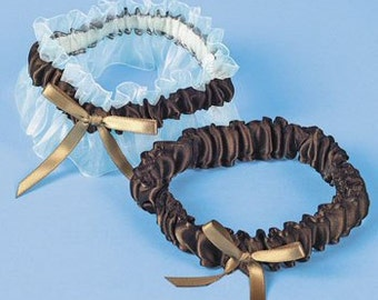Set of 2 - Brown Satin & Organza Bridal Wedding Bride Garter Set with Bows