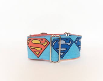 Super Heros martingale collar (dog collar, greyhound martingale fun Superhero action comics colorful cotton)