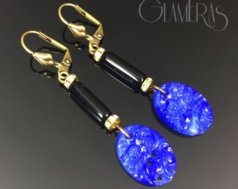Art Deco Earrings w/ Japanese Glass Lapis