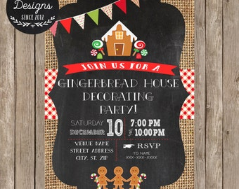 Gingerbread House Party Invitation - Gingerbread House - Christmas Cookie Party - Christmas Cookie Exchange - Gingerbread - DIY Printable