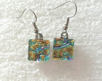 Multi-colored dichroic glass earrings with gold, pink, green etc. accents, Dichroic glass jewelry, Rectangle earrings, EA217
