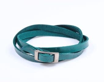 Leather Wrap Bracelet (Green) (057B)