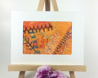 Crazy Quilt Greeting Card, Fiber Art Fabric Greeting Card, Hand Embroidered Greeting Card, Orange Fabric Card, Handmade Card, Birthday