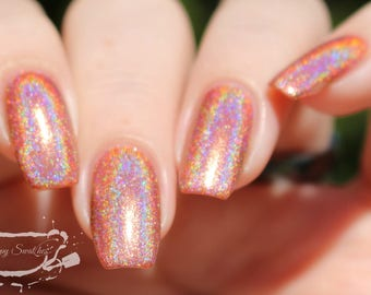 Barefoot in Cabo. Beachy Orange-y Brown Holographic (Holo) Nail Polish. (15 mL, .5 oz)