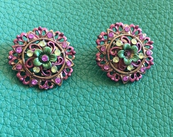 Turquoise and Purple Clip On Earrings