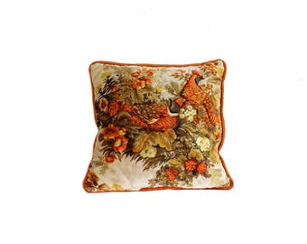 Vintage Velvet Pillow with Pheasants