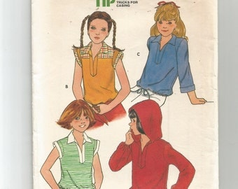 5937 Butterick Sewing Pattern Girls Semi Fitted Tops Optional Hood Size 12 Vintage 1980s