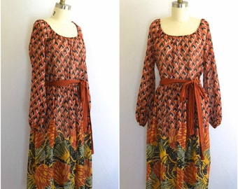 70s Gauzy Print Dress w Balloon Sleeves/ 70s Midi Full Skirted Dress/ Parade/ Women's Size Medium