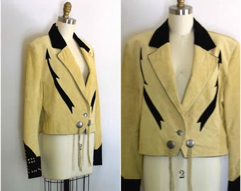 Country Western Two Tone Jacket/ Suede Studded Jacket/ Pioneer Wear Tribal Jacket/ Womens Size Large